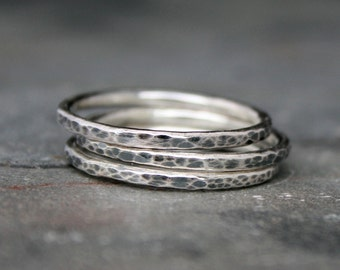 Rustic Sterling Silver Stacking Rings, Set of Three 3 Hammered Sterling Silver Stackable Ring Bands, Antiqued Oxidized, Regular or Knuckle