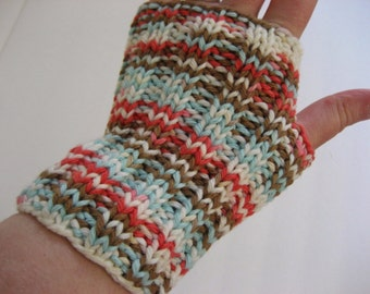 Hand Knit Fingerless Gloves, White Orange Brown Blue Stripes, 100% Cotton Hobo Gauntlets Texting Driving Hooping Arm Wrist Warmers Wristlets