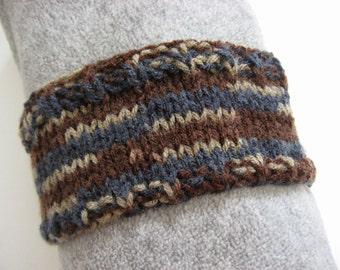 Hand Knit Headband, Shades of Brown and Blue, Vegan Friendly Acrylic, Dreadband Hairband Tube Ear Warmer Dread Wrap Sweatband Dreadlock Hair