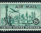 Vintage Unused US Postage Stamp .. 15c New York City Skyline Airmail Stamp Scott# C35 .. Pack of 10 stamps. Big city living, Skyscrapers