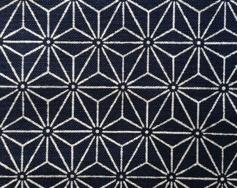 Sevenberry asanoha hemp leaf star navy indigo blue Japanese cotton fabric
