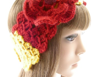 Made to Order Iowa College Crochet Headwarmer with Irish Rose - Cyclones, Hawkeyes, Panthers
