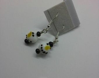 SNOWMAN  glass earrings