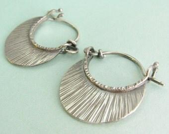 Small Silver Hoops, Argentium Sterling Silver Earrings, Oxidized Hoop Earrings, Contemporary Earrings, Line Texture Crescent Earrings