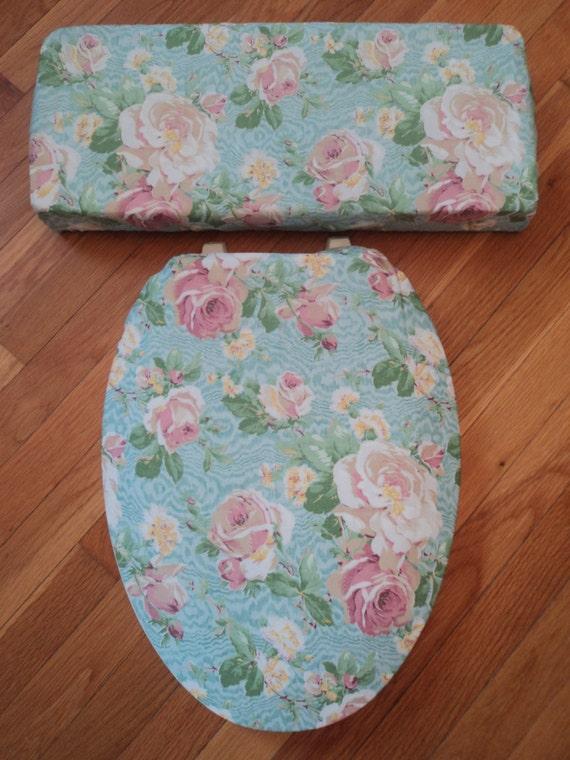Aqua Amp Dusty Pink Roses Toilet Seat Cover Set