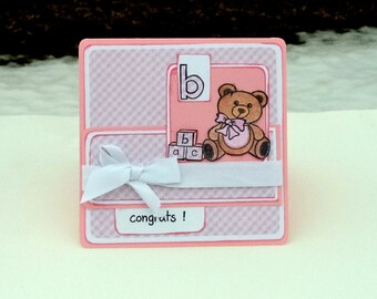 Baby Girl Card, Baby Shower Card, Handmade New Baby Card, 5x5 Teddy Bear Card, Congrats Card, Pink and White Gingham
