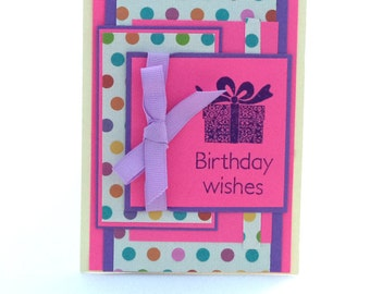Birthday Card, Pink and Purple with Polka Dots and Present, Gift, Birthday Wishes Card