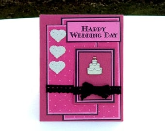 Happy Wedding Day Card, Pink and Black, with Heart, Handmade Wedding Greeting Card