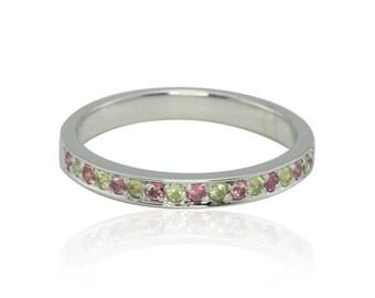 Pink Spring Stacking Ring, Pink Tourmaline and Peridot Band in 14k White Gold - Birthstone Ring - LS1556