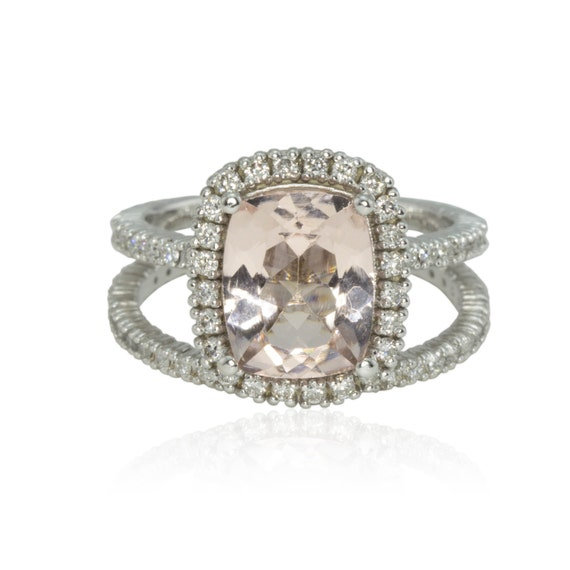 Morganite Engagement Ring 3 carat Cushion by LaurieSarahDesigns