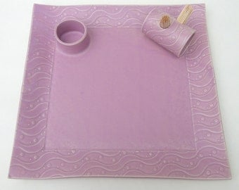 Large Orchid Purple Textured Whimsical Wavy Ceramic Pottery Appetizer Serving Toothpick Plate Tray