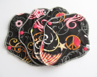 Mama Cloth / Cloth Pads / Pantyliners 8 inch - Set of 4 Black Funky Print FREE Shipping