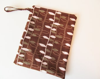 Wet Bag With Snap Handle and Zipper Closure 9 x 11 in Chocolate Leafy Vines  Print .. FREE Shipping