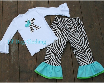 Custom Boutique Clothing Cocoa And Cream Zebra Personalized Tee And Pant Outfit