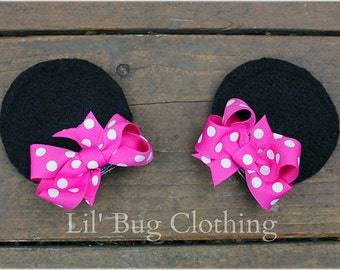 Hot Pink White Polk Dot Girls Minnie Mouse Ears Hair Clip Accessories