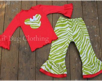 Custom Boutique Lime Red Zebra Minnie Mouse Tee and Pant Holiday Outfit