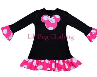 Custom Boutique Comfy  Knit Minnie Mouse Black Pink Jumbo Dot Lettuce Edge Dress