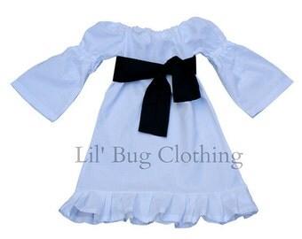 Custom Boutique White Holiday Peasant Dress  Black Sash 12 18 24 2t 3t 4t 5t 6 7 girl