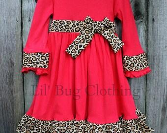 Custom Boutique Clothing Red Knit Leopard Sash  Comfy Knit  Girls Dress