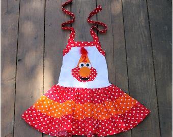 Custom Boutique Orange and Red Polka Dot Elmo Birthday Hat Tiered Personalized Halter Birthday Dress