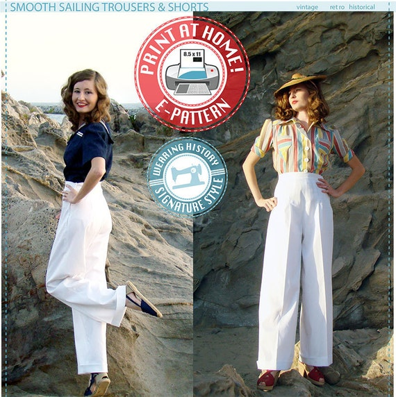 1940s Sewing Patterns – Dresses, Overalls, Lingerie etc E-Pattern- Smooth Sailing 1930s TROUSERS Pants Shorts- Size Pack B- Wearing History $12.00 AT vintagedancer.com