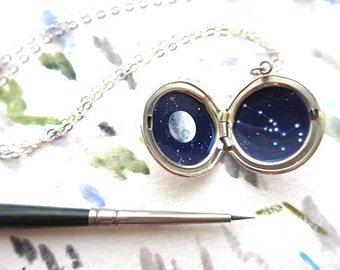 Personalized Constellation, Tiny Oil Painting in Sterling Silver Locket