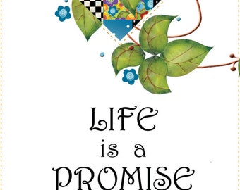 "6"" x 12"" Fabric Art Panel - Life's A Promise..."