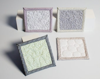 quilted coasters - garland green - ready to ship