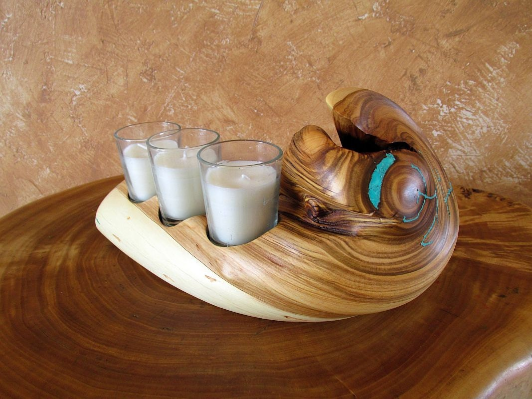 Rustic votive candle holder handmade wood by