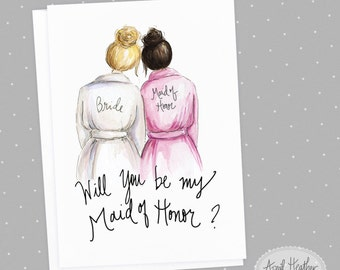 Maid of Honor PDF Download blonde bride up-do, dark brunette maid of honor card