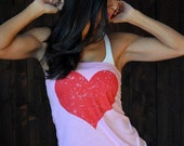 Big Red Heart. Light Pink Tee Shirt Tube Top. One Size.  Clearance Sale.
