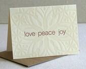 Holiday Note Cards, Snowflake Design, Love Peace Joy, Letterpress