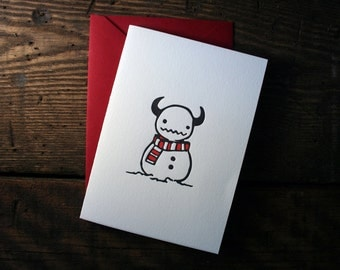 Letterpress Snowman Monster Card - single