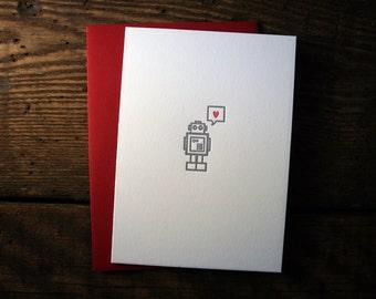 Letterpress Robot Heart Card - Single