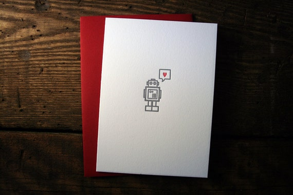 Letterpress Robot Heart Card - Single