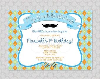 Little Man Birthday Invitation, Mustache Party