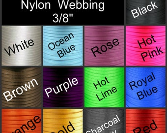 "5 Yards - 3/8"" - HEAVY Weight Nylon Webbing, 9.5mm, Strap, Camera, Lanyard - You Choose Color"