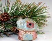 Holiday Christmas Tree Decoration , Pottery Tree Ornament , Rustic Christmas Decor , Limited Edition 2014