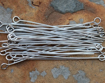 10 Antique Silver 2 inch Eye Pins -  Nunn Designs