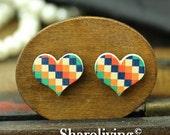 Buy 1 Get 1 Free - 20pcs 16mm  Heart Handmade Photo Wood Cut Cabochon   -- HWC604H
