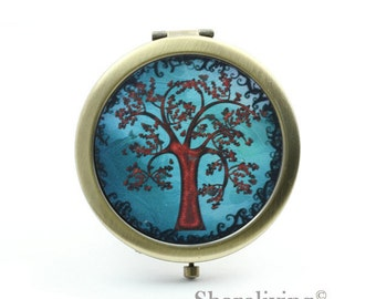 1pcs Tree of Life Photo Pocket Mirror Compact Mirror Antique Bronze Silver Gold Makeup Mirror, Personalized Mirror - HPM002J