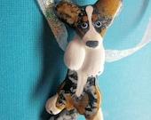 Cardigan Welsh Corgi Pin Ornament WAGGING tail Artist Hand-Made OOAK Brooch Dog Breed Art Jewelry A1