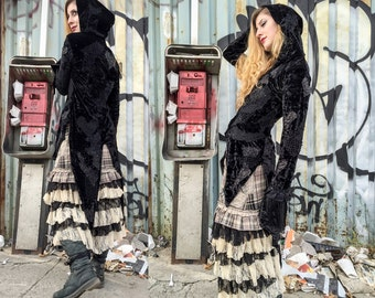 Tattered Tail Coat, Gothic Black Hoodie Steampunk Formal lightweight Jacket Dark Victorian Fairytale patchwork velvet Witchy