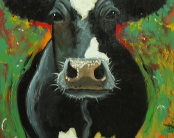 Cow painting animals 978  24x36 inch original portrait oil painting by Roz