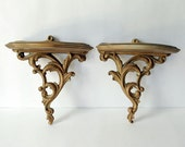 Vintage Gold Syroco Wood Shelves Hollywood Regency Display Wall Hanging Faux Wood Interior Decoration Home Decor Ornate Gilt Carving