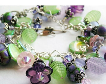 HOLIDAY SALE 35% OFF  - Charm Bracelet, Spring Flowers, Purple Lilac Mint Green, Lampwork Glass Beads, Vintage Lucite, Swarovski Crystals  S