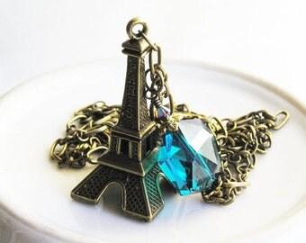 HOLIDAY SALE 35% OFF  - Pendant Necklace Eiffel Tower Paris Antique Brass London Blue Crystal