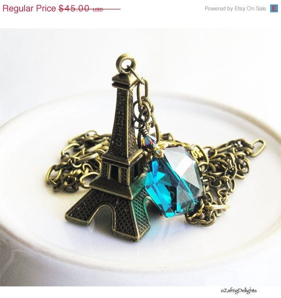 HOLIDAY SALE 35% OFF  - Pendant Necklace Eiffel Tower Paris Antique Brass London Blue Crystal