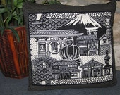 Great Buddha of Kamakura,  Mount Fuji Design Zippered Japanese Furoshiki Pillow Cover Black and White