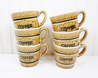 Vintage Coffee Mug Set Royal Sealy Japan Wood Grain Barrel Ceramic Typographic